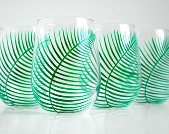 Green Ferns Stemless Wine Glasses - Set of 4 Hand Painted Fern Glasses
