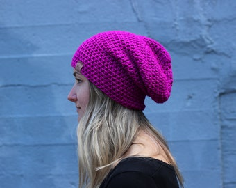 Neon Purple - ACRYLIC Soft Light Weight Slouchy Beanie