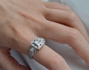Silver Art Deco Ring - Filigree Ring - Art Nouveau Ring - Princess Cut Ring - Silver Promise Ring - Stunning Silver Ring - Vintage Ring