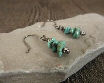 11 - EBX12: Turquoise stone earrings, bohemian jewelry, blue green earrings, stone chip earrings, turquoise jewelry, gunmental earwires