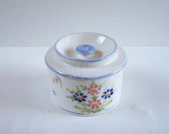 Butter dish  white flowered pottery hand made white with blue edge vintage  Made in France