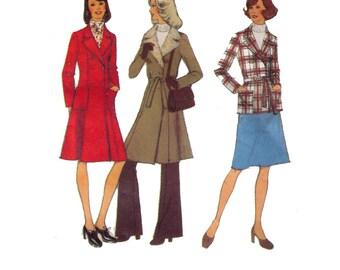 """Style 4828, 70s sewing pattern, size 16 bust 38"""" women's coat pattern, pea coat pattern, tie belt"""