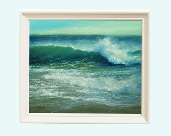 Ocean coastal art, Print of ocean waves on beach, Art print, Beach decor, Oil painting, Wall decor, original painting