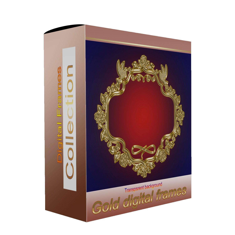 Gold digital frames clipart ornate luxury golden frame for wedding ...