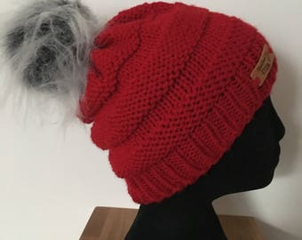 Hand knitted red pom pom hat.( SALE)