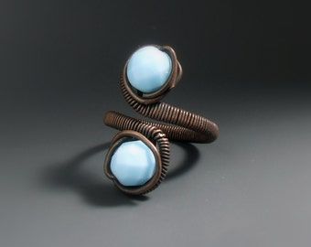 Blue copper women ring, Turquoise glass beaded jewelry, Copper Rustic jewellery gift for her