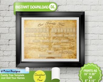 5 Generation Blank Custom Printable Family Tree -   Genealogy Template, INSTANT DOWNLOAD, Genealogy Print, Ancestry Chart - Just Add Names