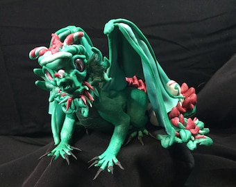 Turquoise and Ruby Dragon with Eggs
