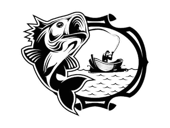 Bass Fishing 16 Logo Angling Fish Hook Fresh Water Hunting