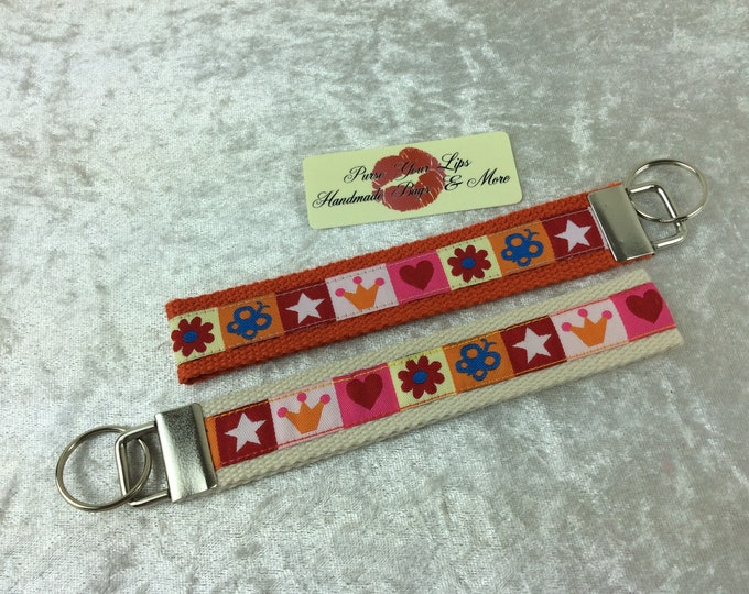 Crowns Stars Key Fob Wristlet Key Ring Chain Wrist Strap Lanyard Wedding Favours
