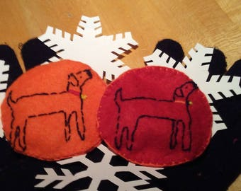Wool Felt hand warmers with embroidered dog designs front and back
