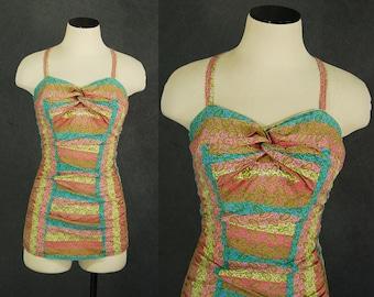 vintage 50s Catalina Swimsuit - 1950s Paisley One Piece Swimsuit Bathing Suit Sz M