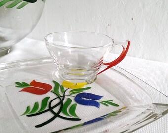Hand Painted Glass Luncheon Snack Set Hazel Atlas Gay Fad Floral Design 8 Piece