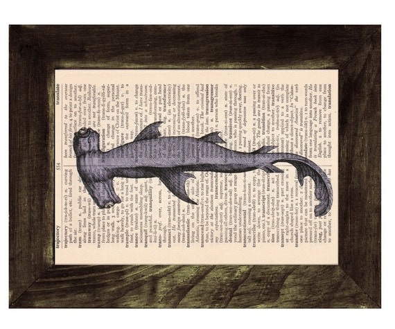 Vintage Book Print Dictionary or Encyclopedia  Book print Hammerhead Shark Print on Vintage Dictionary Book art BPSL087
