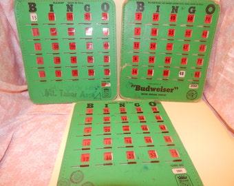 3 Antique Pla- Mor  BINGO Cards/ Boards with Red plastic Slider windows , Game