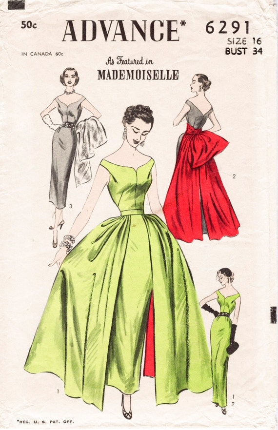 1950s 1960s Vintage Ball Gown Wiggle Sheath Dress Amp Overskirt