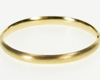 "14K Brushed Textured Rounded Oval Bangle Bracelet 7"" Yellow Gold"