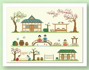 Traditional Korean Home Cross Stitch Pattern. Large Best Seller Cross Stitch Simple Cute Counted Cross Stitch PDF Pattern. Instant Download