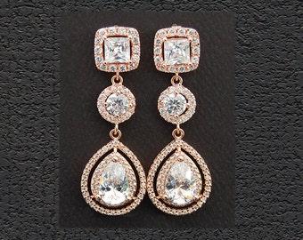 CZ Bridal Jewelry. Traffic Stoppers Rose Gold CZ Bridal Earrings 190ERG. Rose Gold Wedding jewelry. Long Dangle Earrings. Statement earrings