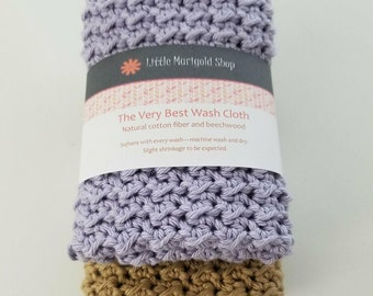 The Very Best Washcloth - 2 crocheted cotton wash cloths - dish cloth set