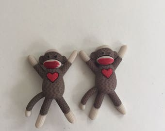 Earrings Mix and Match Collection Matching Standing Sock Monkeys with heart Shown in Post Style can be Dangle Too