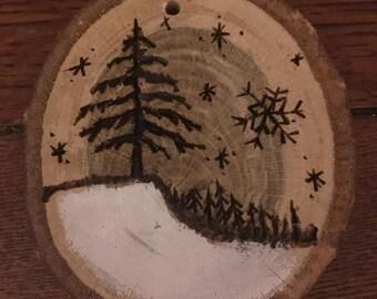 Wood Burned Winter Scene Ornament