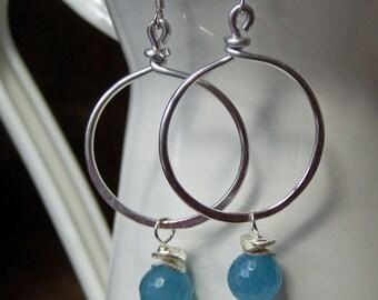 50% OFF Beaded Hoops, Hoop Earrings, Aluminum Silver Hoops, Blue Agate Earrings, Dangle Earrings, Hammered Hoops, Etsy, Etsy Jewelry,