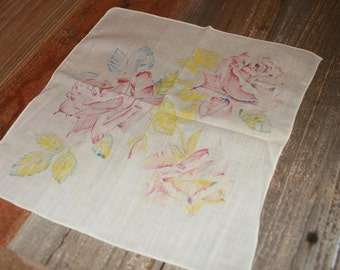 Vintage Hankie Handkerchief Pink Watercolor Floral Design