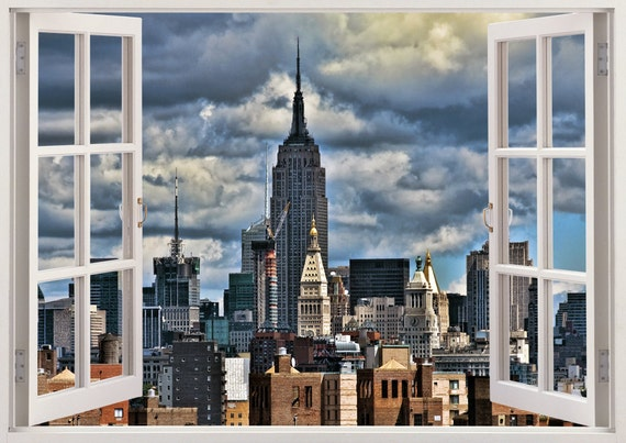 New York Skyline Wall Decal 3D Window Design