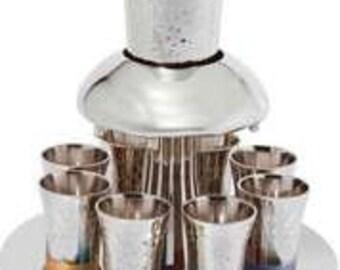 Kiddish Wine Fountain With 8 Cups - Made with Nickel And Hammerwork Judaica Art Shabbat Kiddush Cup Jewish Wedding Gift