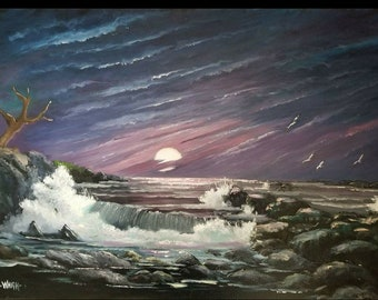 Original Seascape Oil Painting Tropical Sunset Crashing Wave by Oscar Whirls
