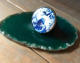 Earth ring, adjustable glass ring , handmade ring