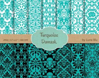 "Damask Digital Paper: ""Turquoise Damasks"" turquoise digital paper, damask scrapbook paper, robin egg blue, turquoise and black"