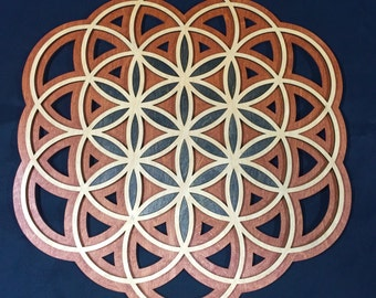 """Flower of Life with accented Seed of Life! 24"""" Radiant Hearts # RH00304"""