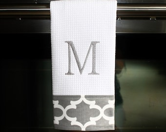Grey Quatrefoil Monogrammed Dish Towel or Hand Towel | Housewarming Gift | Hostess Gift | Gifts for Her | Wedding