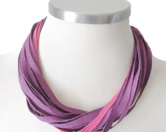 Colorfull Leather Necklace, Violet and Pink Leather Bib Necklace, Leather Jewelry, Everyday Women Necklace