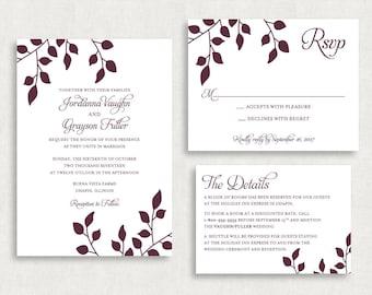 Wedding Invitation and RSVP Card (Falling) - Digital File, PDF, Printable, DIY, Printed, Leaf, Tree, Nature, Purple, Script, Calligraphy