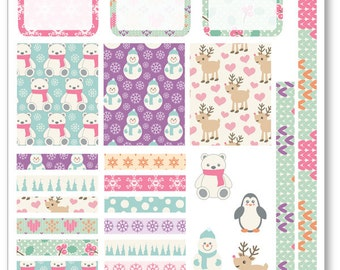 Cute Winter Decorating Kit / Weekly Spread Planner Stickers for Erin Condren Planner, Filofax, Plum Paper