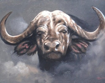 Cape Buffalo Africa wildlife animal large 24x36 oils on canvas painting by RUSTY RUST / B-97