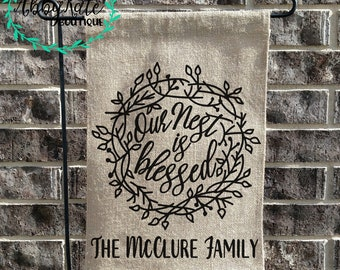 Our Nest is Blessed with NAME - Burlap Garden Flag (Ruffle, Pendant, Rectangle)