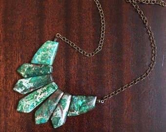 Earthburst - Green Terra Jasper - Natural Stone Jewelry - Stone Necklace - Green And Bronze Necklace - Handmade Jewlery