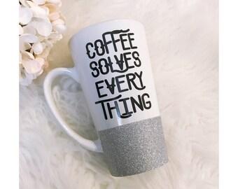 Coffee Solves Everything  Glitter Ceramic Coffee Cup // Glitter Cup // Glitter Coffee Cup // Birthday Gift // Coffee Mug // Glitter Dipped