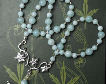 Magical Fairy and Ivy Branch Necklace with Amazonite Gemstone beads - Pagan, Magical, Faery, Faerie
