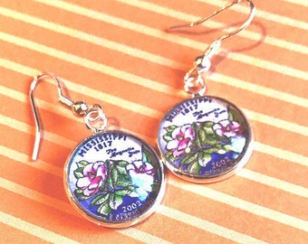 State of Mississippi quarter cabochon earrings- 16mm