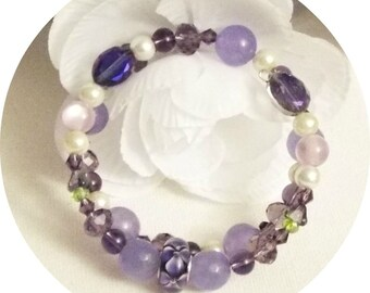 Memory Wire Bracelet, Wife Birthday Gift, Gemstone Bracelet, Amethyst Jade Crystal, Daughter Sweet 16, Thank You Bridesmaid Gift