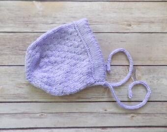 Baby Girl Bonnet, Knit Baby Bonnet, Purple Baby Bonnet, Lavender Baby Bonnet, Photography Prop, 0-3 Months