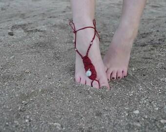 Micromacrame bohemian Barefoot sandal