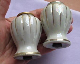 Vintage Lusterware Ceramic Salt & Pepper Shakers