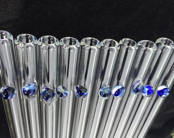 Glass Drinking Straws Set of 10 by OceanBeachGlass