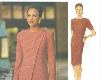 1993 Misses' Straight Dress with Jacket Uncut Factory Fold Size 8,10,12 - The Vogue Woman Sewing Pattern 8721